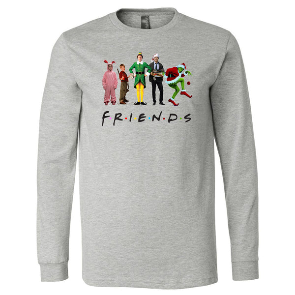 Friends Christmas Characters - Grey Longsleeves Tee