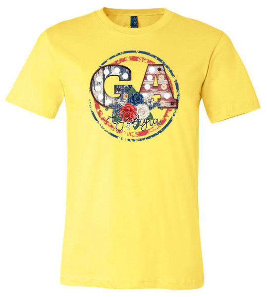 GA Georgia Vintage - Yellow Short Sleeve Tee