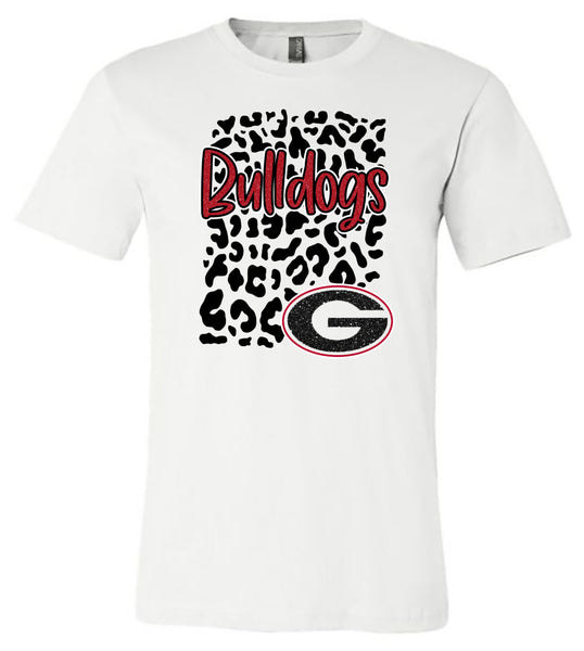 Georgia Bulldogs Leopard - White Short/Long Sleeve Tee