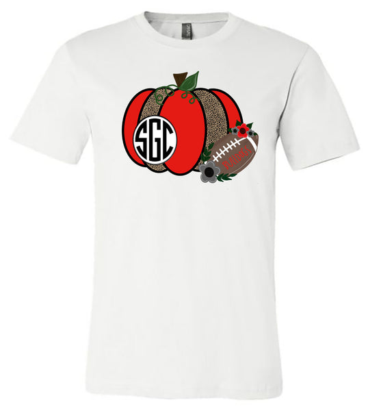 Georgia Football Monogram - White Short/Long Sleeve Tee