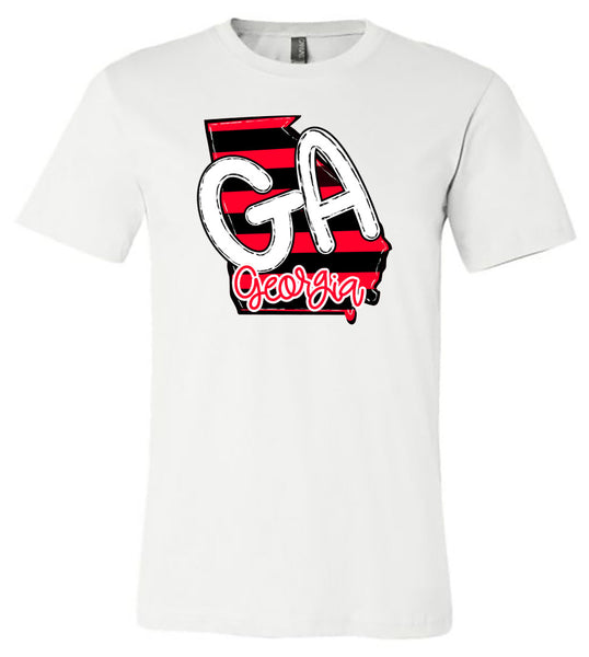 Georgia on Stripes - White Short/Long Sleeve Tee