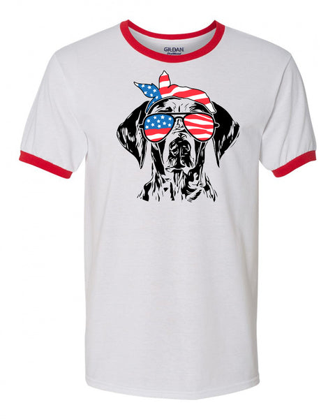 german shorthair pointer with American Flag Bandana & Glasses Tee fourth of july memorial day labor day