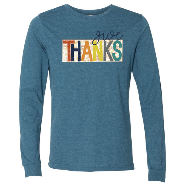Give Thanks Floral Box - Teal Tee