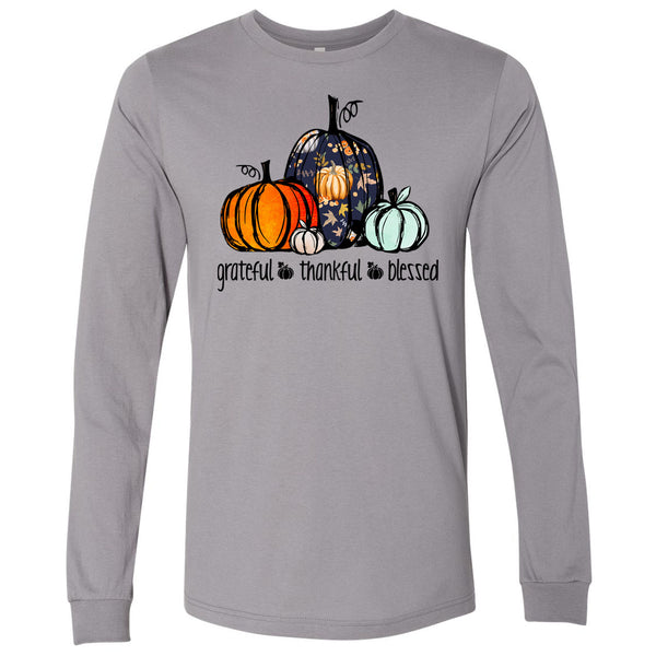 Grateful Thankful Blessed Patterned Pumpkin - Storm Tee