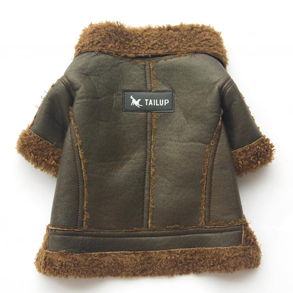 Leather Dog Coat - Green