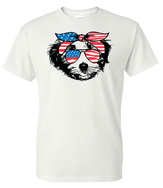 Havanese with American Flag Bandana & Glasses Tee fourth of july memorial day labor day