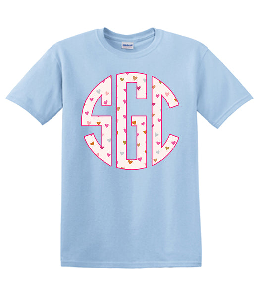 Heart Monogram Print - Light Blue Valentines  Southern Grace Creations