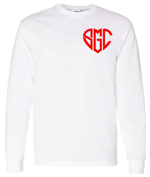 Heart Scalloped Monogram (Left Chest) - White Tee valentines day southern grace creations