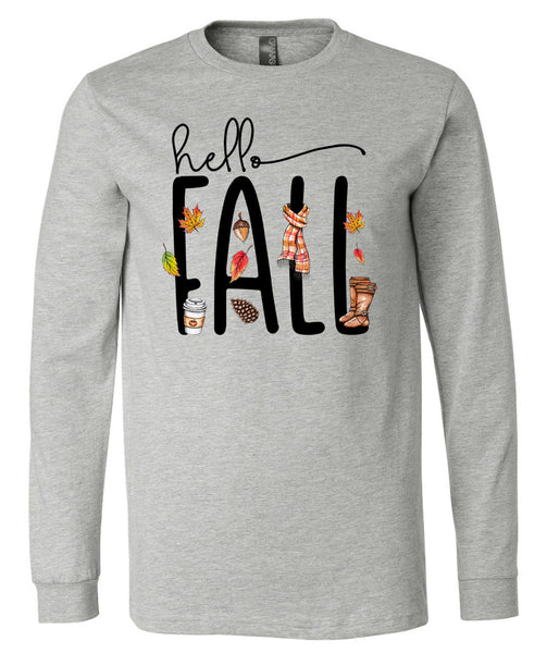 Hello Fall - Athletic Heather Short/Long Sleeve Tee