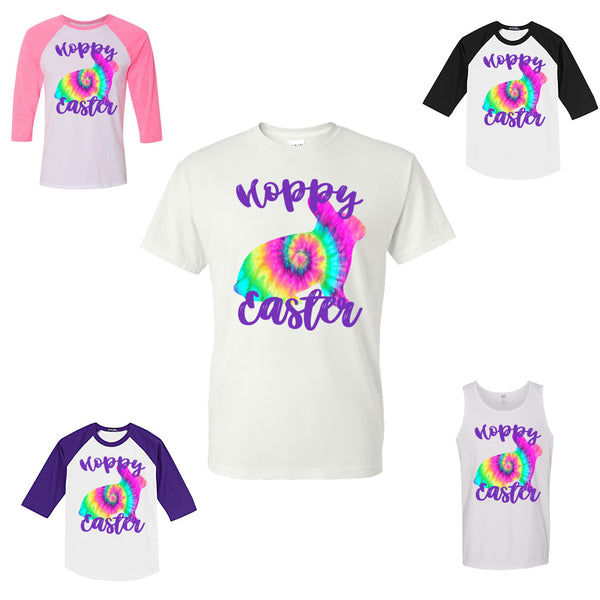 HOPPY EASTER WITH TIE DYE BUNNY SHIRT