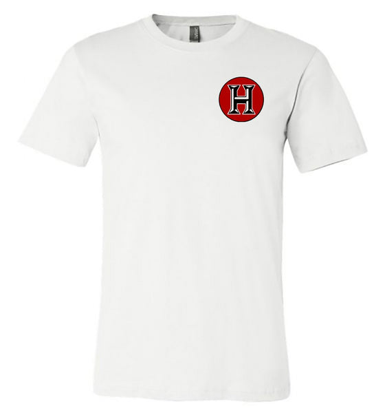 Howard - Huskies with Polka Dot Circle - White Bella Shortsleeves  Southern Grace Creations