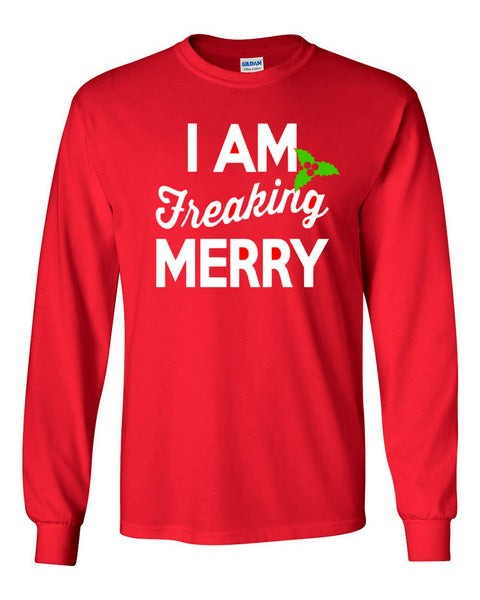 I Am Freaking Merry - Red Longsleeves