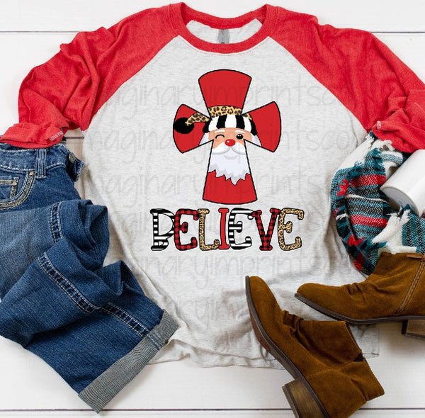 DO YOU BELIEVE? JESUS is the reason for the season - Red/White Raglan