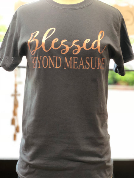 Blessed beyond measure - charcoal short sleeve tee - Southern Grace Creations
