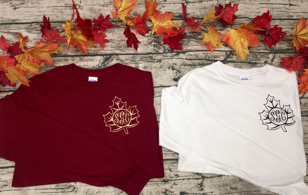 Falling Gracefully (Leaf Monogram Tee) southern grace creations