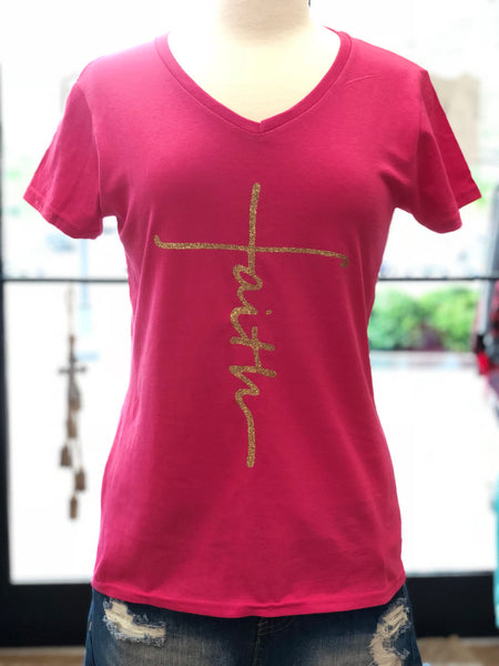 Faith - Hot Pink Ladies V-Neck - Southern Grace Creations