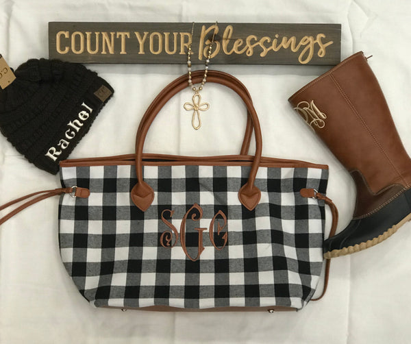 Buffalo plaid Tote Bag-Black/White - Southern Grace Creations