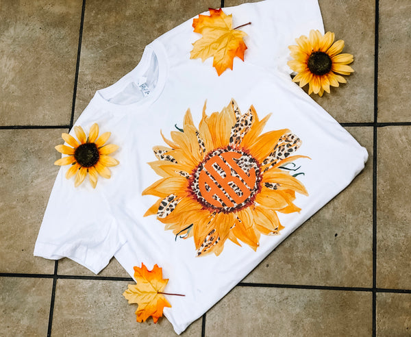 Leopard Sunflower Monogram Tee - White Short Sleeve Bella