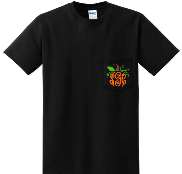 Pumpkin Monogram Pocket Tee