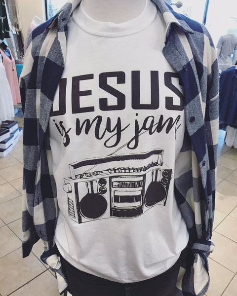 Jesus is my Jam - White Short Sleeve Tee - Southern Grace Creations