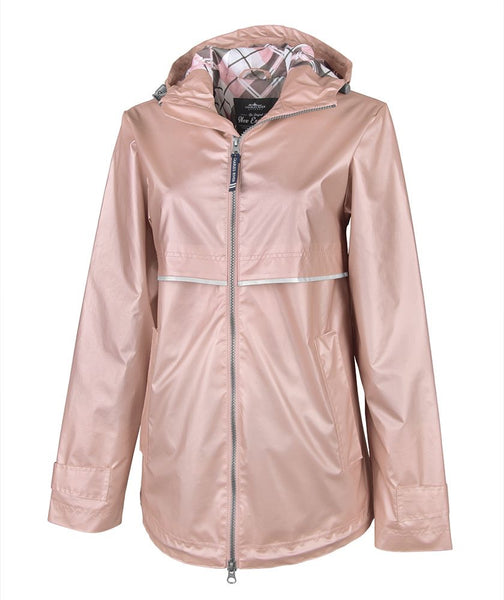 WOMEN'S NEW ENGLANDER® RAIN JACKET WITH PRINT LINING-Rose Gold/Plaid