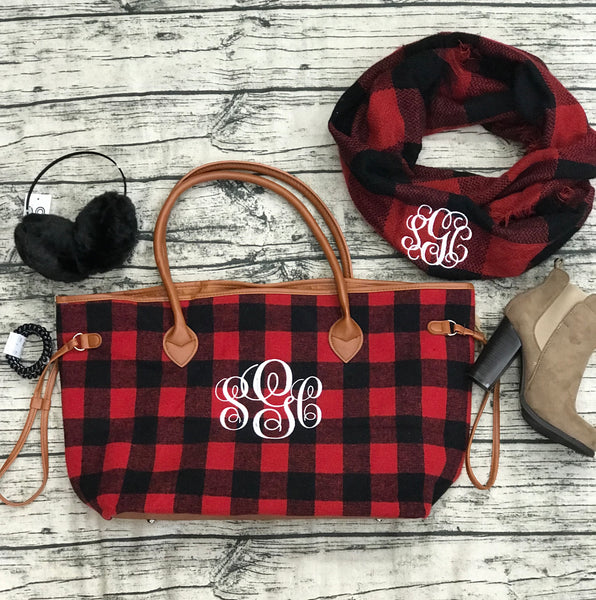 BUFFALO PLAID TOTE Red/Black - Southern Grace Creations