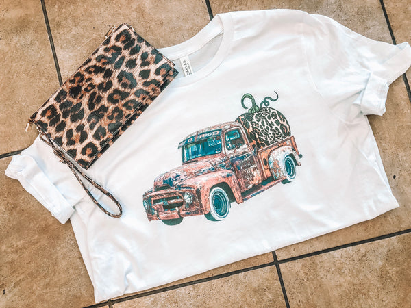 Fall Distressed Truck - White Short-Sleeve Tee