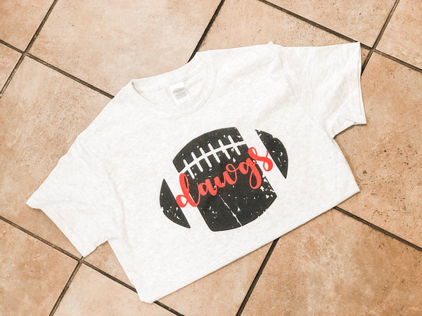 Distressed Football Tee with Team Name