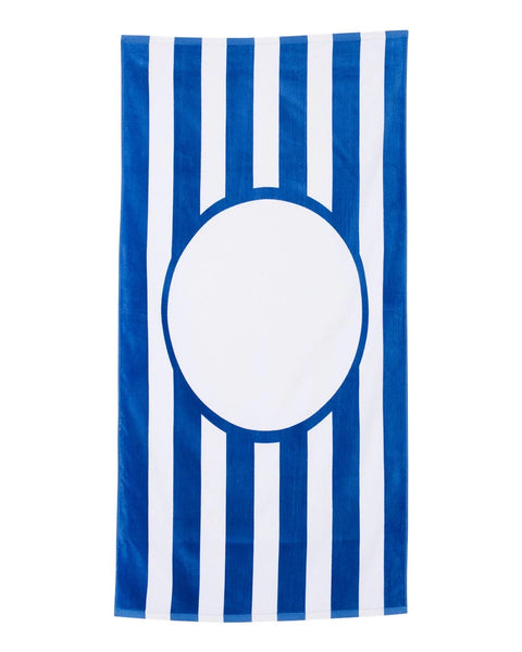 Monogrammed Stripe Beach Towel - Royal/White