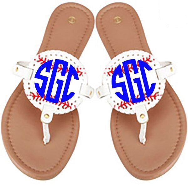 Monogram Disc Sandals - Baseball/White