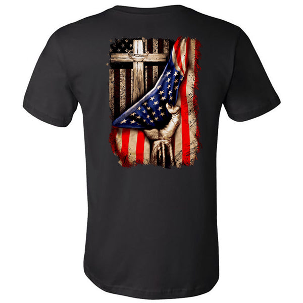 In God We Trust Cross Flag - Black Short Sleeve Tee