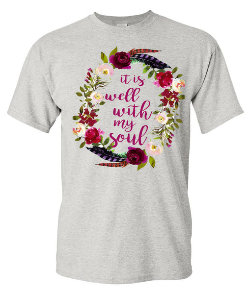 IT IS WELL WITH MY SOUL - ASH SHORT-SLEEVE TEE - Southern Grace Creations