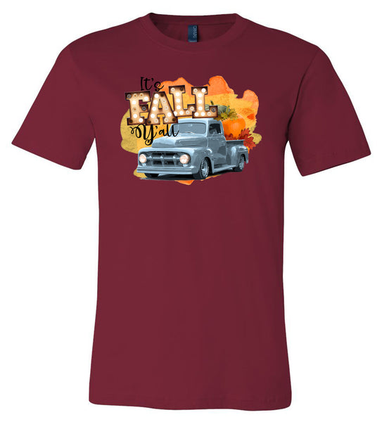 It's Fall Y'all Blue Truck - Cardinal Short/Long Sleeve Tee