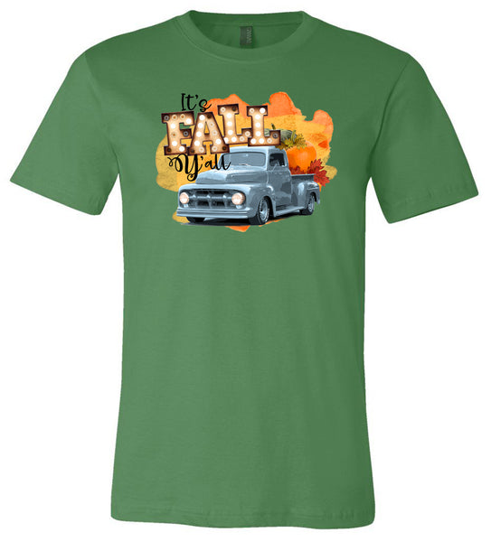 It's Fall Y'all Blue Truck - Leaf Short Sleeve Tee