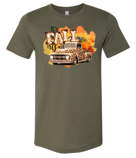 It's Fall Y'all Leopard Truck - Military Green Short/Long Sleeve Tee