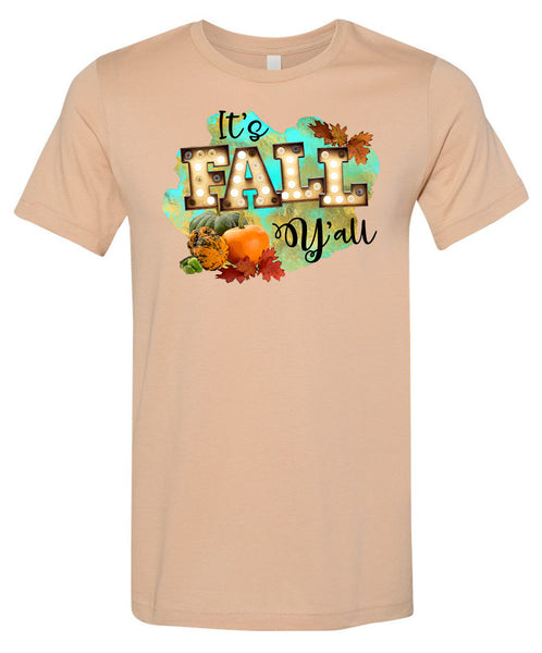 It's Fall Y'all Marquee - Sand Dune Short/Long Sleeve Tee