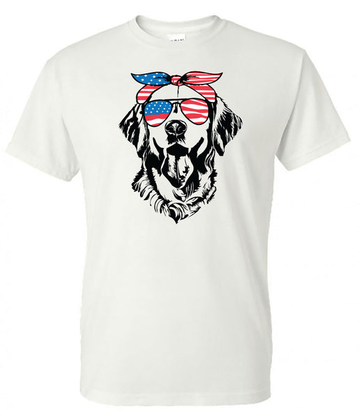 Labradore Lab with American Flag Bandana & Glasses Tee fourth of july memorial day labor day