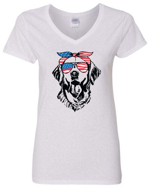 Retriever with American Flag Bandana & Glasses Tee fourth of july memorial day labor day
