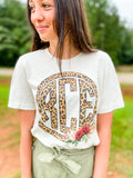 Leopard Print Circle Monogram with Flowers - Natural Color TEE