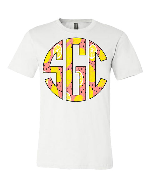 Lemon Print Monogram - White Tee