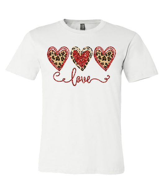 Leopard Print Love Tee Valentines  Southern Grace Creations