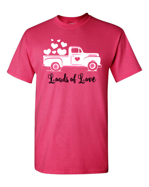 Loads of Love Truck - Hot Pink Short Sleeve valentines day southern grace creations