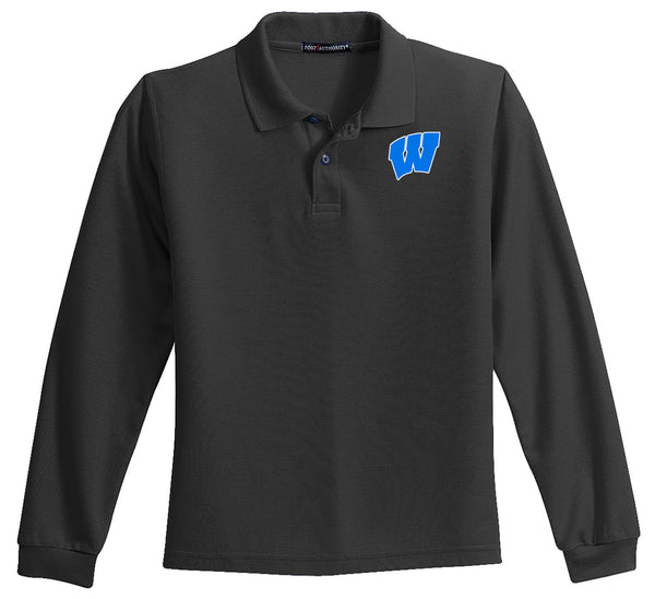 Windsor - YOUTH Long Sleeve Polo - BLACK (Y500LS)