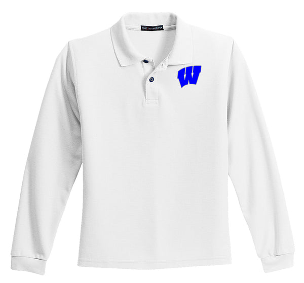 Windsor - YOUTH Long Sleeve Polo - WHITE (Y500LS)