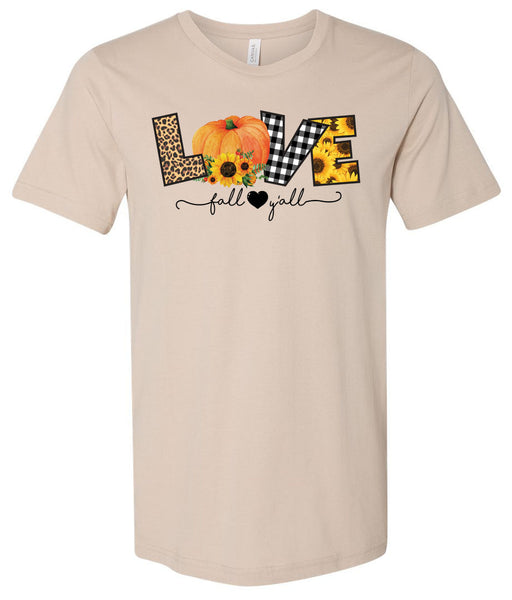 Love Fall Y'all - Tan Short/Long Sleeve Tee