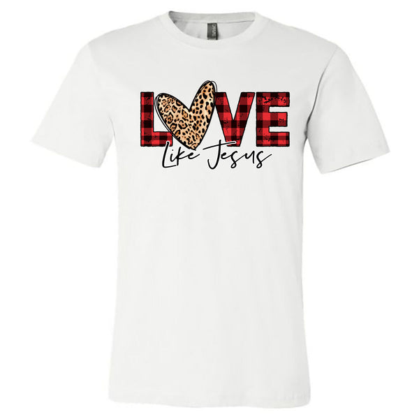 Love Like Jesus - Buffalo Plaid - White Short-Sleeve Tee