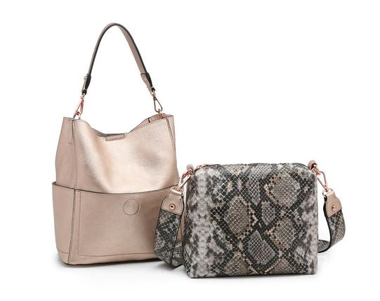 Rose Gold Purse with Snake Print Bag