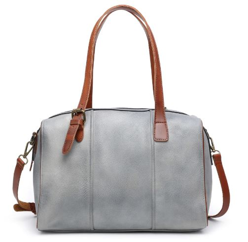 Rustic Satchel with Leather Trim - Grey
