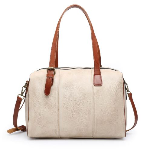Rustic Satchel with Leather Trim - Taupe