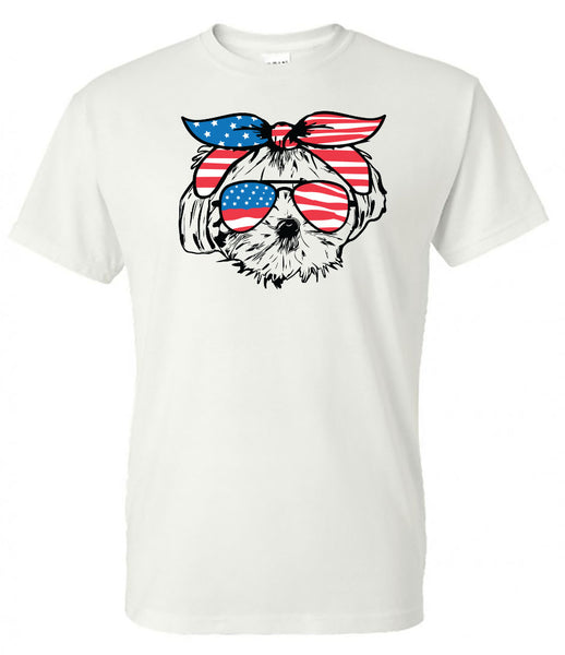 Maltese with American Flag Bandana & Glasses Tee fourth of july memorial day labor day